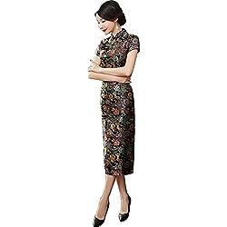 TTDRESS Women's Long Cheongsam Vestido largo chino de las mujeres Cheongsam Qipao Retro Long Flower Printing, negro , black , m