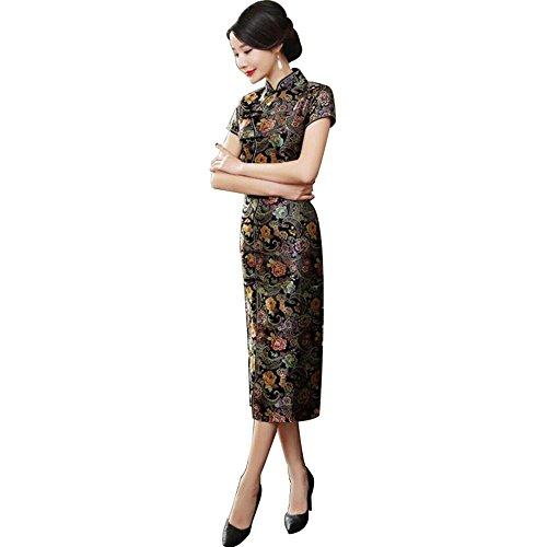 TTDRESS TTDRESSWomen's Long Cheongsam Langes chinesisches Kleid der Frauen Cheongsam Qipao Retro langer Blumendruck, schwarz , black , s -