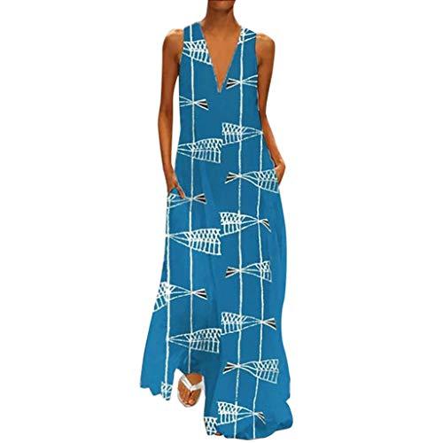 Damen Sommerkleider Lange Freizeit Dress Fashion äRmellose Vintage Print V-Ausschnitt TäGlich Lose Maxi Dress Casual Strand Lose TäGlichen Dress Kaftan Kleid Luftiges Kleid Florydays Kleider Blau 2XL