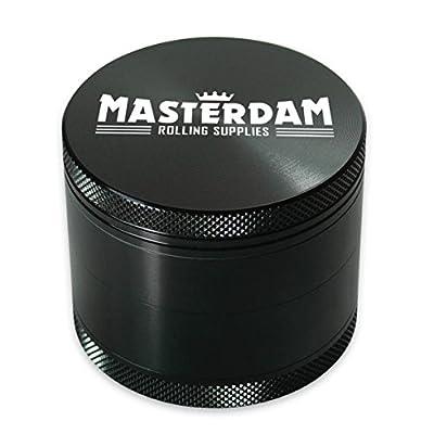 Masterdam Grinders Premium 4-Part Herb Grinder with Pollen Catcher - Anodized Aluminium from Masterdam Rolling Supplies