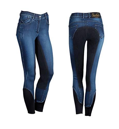 netproshop Damen Jeans-Reithose Burton Strapazierfähig mit Wildlederimitat-Vollbesatz, Damengroesse:40, Farbe:Dunkelblau