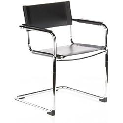 hjh OFFICE 668840 CUATRO (2 sillas/paquete doble) Silla de Confidente, piel sintética negro cromado