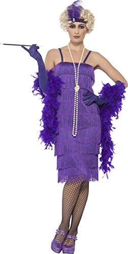 Smiffy's 44677S - Damen Flapper Kostüm, Größe: 36-38, lila (Lila Flapper Kleider)