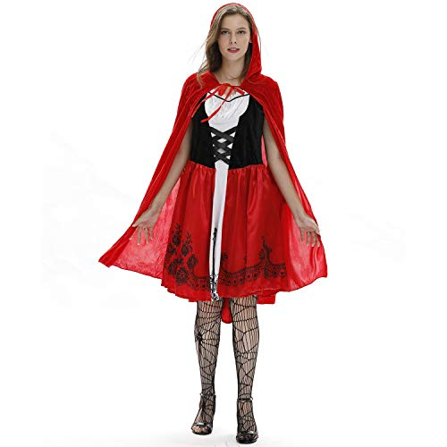Damen Cosplay Kostüm, Rotkäppchen Sexy Rotes Kap Schwarzes Blumenkleid, Halloween, Karnevals Party Masquerade Dress Up Kostüm,M