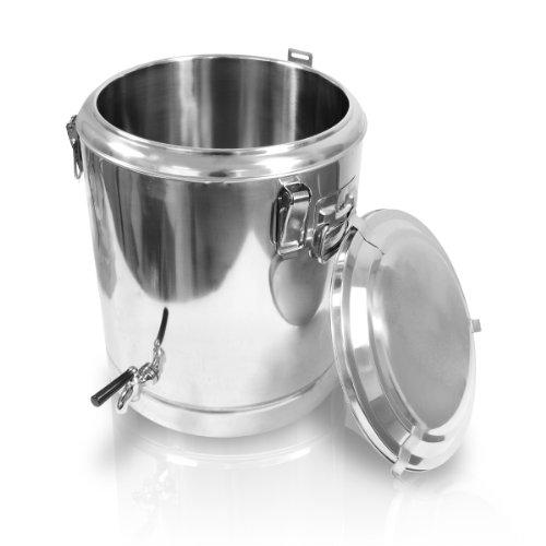 Edelstahl Speisewarmhaltebehälter 40x45 - 38,5 Liter mit Hahn & Deckel