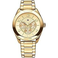 Reloj para mujer Tommy Hilfiger 1781214, mecanismo de cuarzo, diseño con varias esferas, correa chapada en oro.