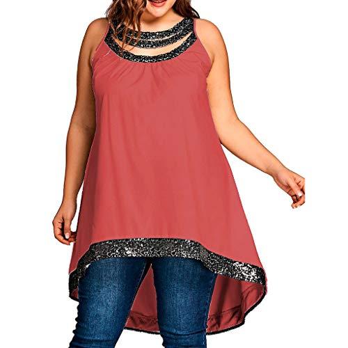 Yvelands Damen Tank Tops Plus Size O-Neck ärmellose Feste Pailletten gespleißt einfach T-Shirt Bluse Vest