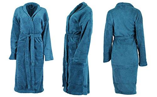 Super morbido e leggero accappatoio DOMANI cappotto sauna cappotto tinta unita per uomo e donna in diversi colori: blu, grigio, verde, marrone e rosa e taglie S-XXL, double-face, blu, X-Large