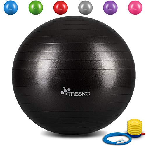 TRESKO® Anti-Burst Gymnastikball 55cm 65cm 75cm 85cm | Sitzball | Yogaball | 300 kg | mit Luftpumpe (Schwarz, 75cm (geeignet für 175-185cm))