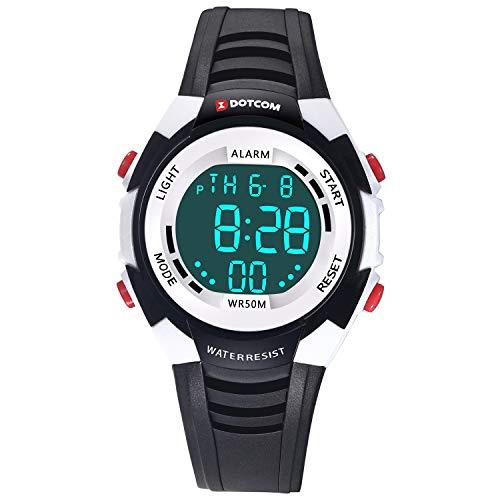 Relojes de Pulsera Electrónicos para Niños Niños Digital Relojes Deportes-5 ATM Reloj Deportivo Impermeable al Aire Libre con Alarma Cronómetro Luces de Colores de Fondo (Negro)