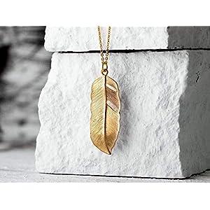 Feder-Kette gold, schlichte lange vergoldete Gliederkette mit modernem Feder-Anhänger, das perfekte Geschenk für Sie