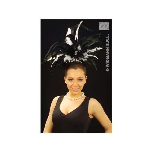Rouge Moulin Kostüm Edel - Widmann s.r.l. Federkopfschmuck in schwarz-weiß