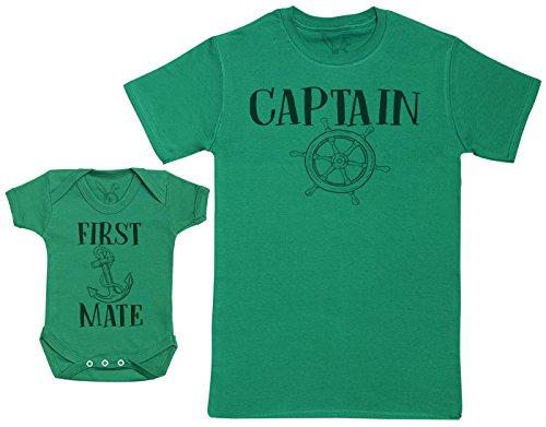 e Vater Baby Geschenkset - Herren T-Shirt & Baby Strampler / Baby Body - Grün - L & 0-3 Monate (Grüner Strampler)