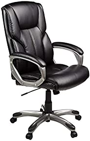 AmazonBasics High-Back Executive Swivel Office Computer Desk Chair - Black with Pewter Finish, BIFMA Certified