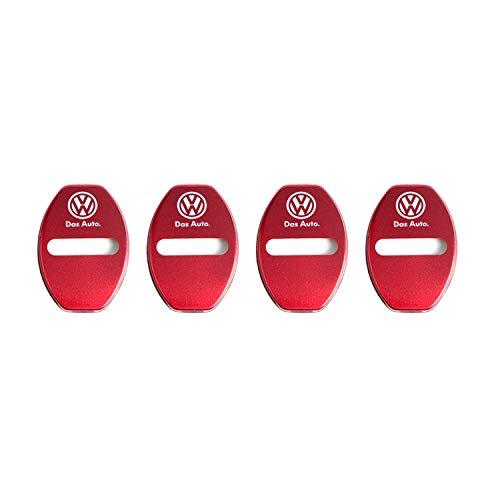 [4 Stück] CDEFG Edelstahl Auto Türschlossabdeckung für Golf Tiguan Arteon Passat B8 Door Lock Cover Zubehör Türverriegelung Abdeckung (Rot)