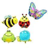 YEAHIBABY Insecte Ballons Ballon des Animaux Ballon Aluminium Helium pour Les Enfants Anniversaire Décorations de Fête, 5 Pieces (Grenouille + Escargot + Papillon + Coccinelle + Abeille)