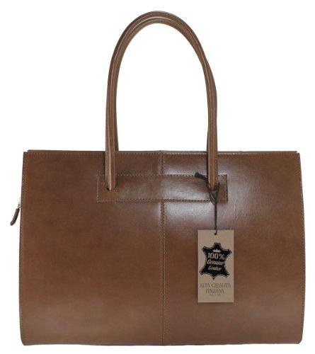 Sac MC pour femmes avec poignées de porte documents professionnels, 40x30x12cm, 100% cuir véritable Fabriqué en Italie