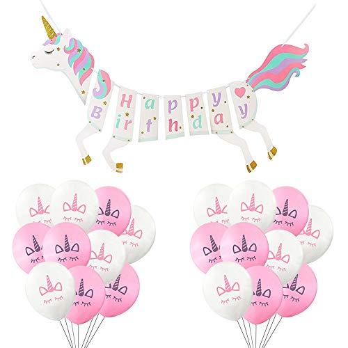Unicornio Happy Birthday Banner Guirnalda,Unicornio Rosa Blanca Globos Látex 12 Pulgadas para Decorar la habitación, Baby Sower, jardín, Pared Fiesta Cumpleaños Decoraciones Boda Navidad