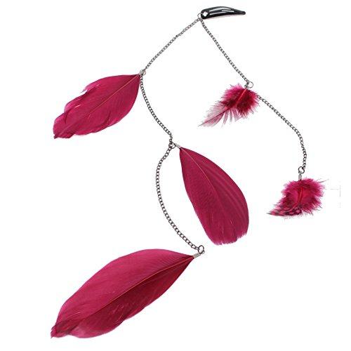 JUSTFOX - Haarclip Haarkette mit Federn in der Farbe Bordeaux