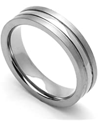 Little Treasures 5MM Comfort Fit Titanium Wedding Band High Polished Center Grooved Ring