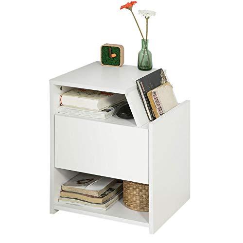 SoBuy® FRG261-W Table de Chevet Table d'Appoint Bout de Canapé avec 1 Tiroir 2 Niches