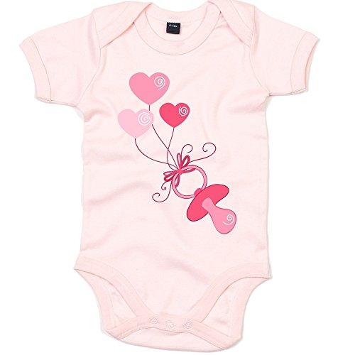 (It's A Girl 04 Babystrampler | Schnuller | Herzen | Strampler | Bodysuit | Babybody | Babyeinteiler | Oeko-Tex ® 100 Standard, Farbe:Babyrosa (Powder Pink BZ10);Größe:12-18 Monate)