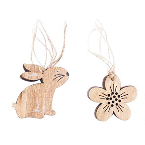 Rad-küken (Ostern Deko ZYUEER Osterhase Kaninchen Küken Ei Ornament Dekorativer Anhänger aus Holz)