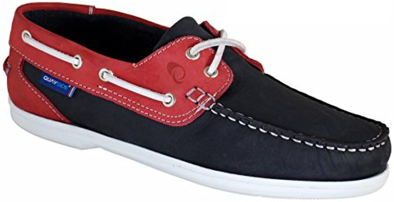 QUAYSIDE Zapatos Náuticos/Mocasín de Cuero Para Mujer Azul Marino/Rojo
