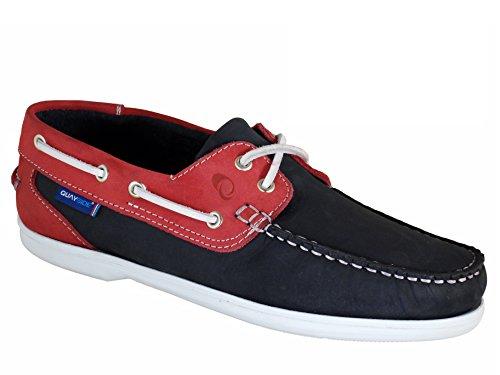 QUAYSIDE Portugiesisch Damen Leder Bootsschuhe Marineblau/Rot EU 41