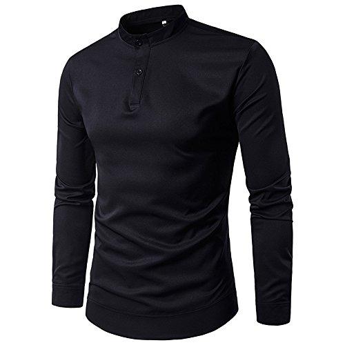 Haroty Chemises Tshirt Pullover Slim Fit Homme Fashion Casual Manches Longues Col Mao Simple Uni Chic Tops avec Bouton Business Tunique Sizes M-XXL (M, Noir)