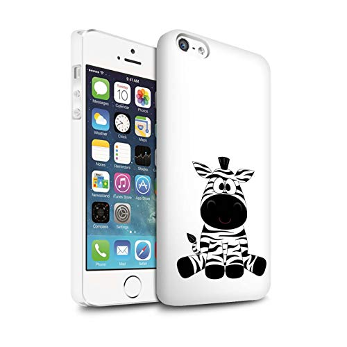 eSwish Matte Snap-On Hülle/Case für Apple iPhone SE/Zebra Muster/Karikatur Zootiere Kollektion