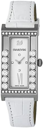 Swarovski Women's Lovely Crystal White Dial Leather Band Watch - 509