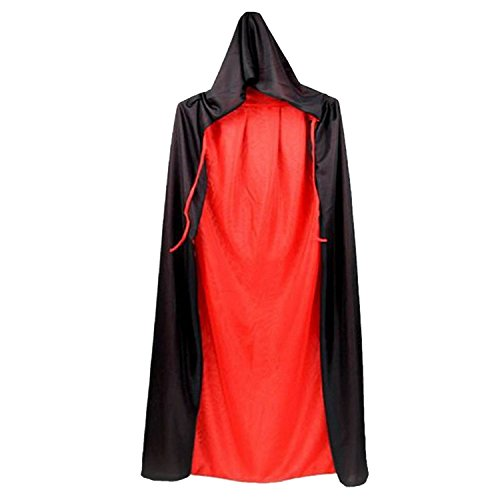 Unisex Cool Schwarz Und Red Dual Einseitig Halloween Masquerade Weihnachten Hexe Umhang Cape Kostüm mit Hood Halloween Rolle Spielen Dress-up Liefert 170cm (In Voller Länge Cape)
