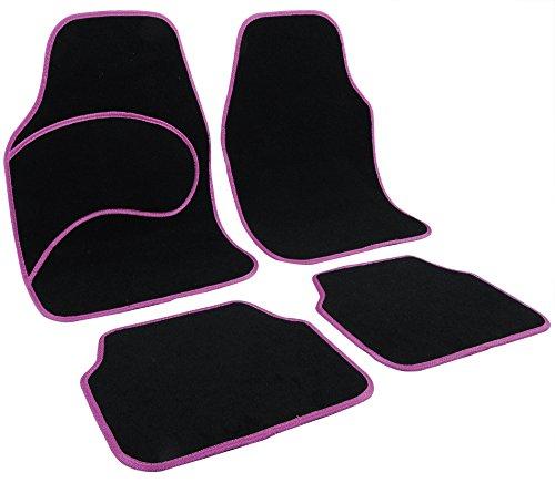 WOLTU Universal Auto Fußmatten Teppich Matten Stoffmatten Violett/Schwarz 7134