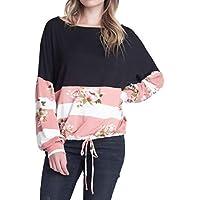 Geili Bluse Damen,Frauen Langarm Rundhals Blumendruck Schwarz Casual Bluse Damen Herbst Lose Lace-up Top Shirt... preisvergleich bei billige-tabletten.eu