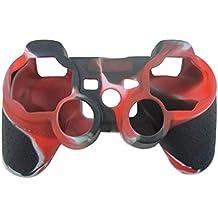 OSTENT Funda de piel de camuflaje cubierta de silicona compatible para Sony PS2 / 3 inalámbrico / controlador con cable - Color rojo