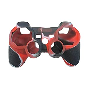 OSTENT Camouflage Silikon Hülle für Sony PS2 / 3 Wireless / Wired Controller – Farbe Rot