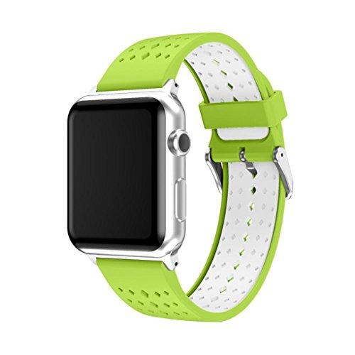 Amoyl Armbandfür die Apple Watch Serie 1, Serie 2, welches Sport-Silikonarmband, Ersatz-Uhrenarmband mit verstellbarer Schnalle und Schnellspanner für die Apple iWatch (38mm/42 mm), grün, 42mm