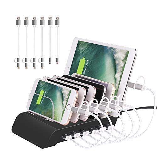 Gzymh Station de Charge USB 6 Ports pour Tablette de Bureau et Smartphone