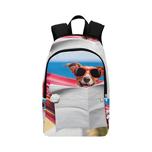 Hund lesen Zeitung oder Zeitschrift lässig Daypack Reisetasche College School Rucksack für Herren und Frauen