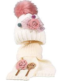 Boomly Inverno Carino Morbida Caldo Set Cappello e Sciarpa di Maglia  Cappello da Sci con Pompon 3e086d85a8bf