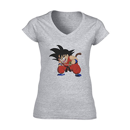 Dragon Ball Z Goku Furious Damen V-Neck T-Shirt Grau