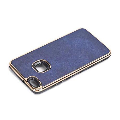 EKINHUI Case Cover Dual Layer PC + TPU Eletroplating PC Retro Crazy Pferd Leder Skin Shell Abdeckung Fall für Huawei P10 Lite ( Color : Brown ) Blue