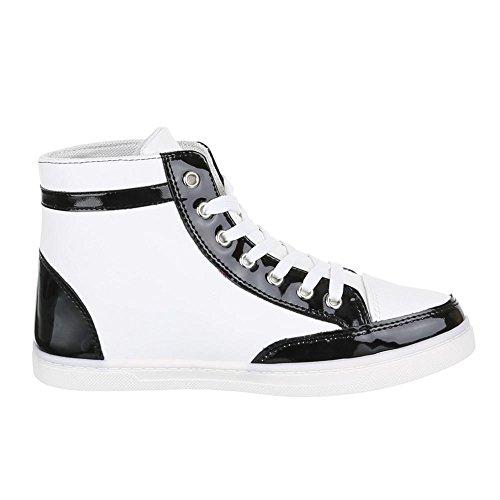 Damen Schuhe, FC15-R01, Freizeitschuhe SNEAKERS TURNSCHUHE Weiß