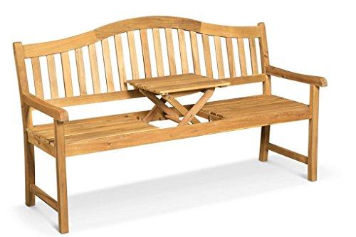 LANTERFANT - Gartenbank Jan, Teakfarbe, Mit integriertem einklappbarem Tisch, wetterfest, 160x64x96 cm