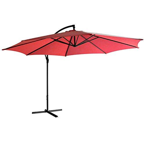 webend in 7 Farben - Jalano Ampelschirm 350 cm Durchmesser, Gartenschirm inkl. Schutzhülle und Fusskreuz - höhenverstellbarer Kurbelschirm (Rot) (Rote Sonnenschirm)