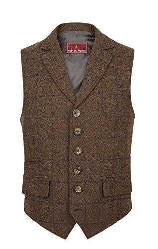 -Weste Galloway, im Country-Stil, Karo-Muster, Tweed, für Jagd, Schießen, Reiten Gr. Medium, braun (Big And Tall Kostüme Für Männer)