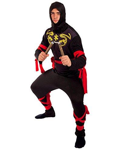 Erwachsene Ninja Kostüm Karneval Fasching Herren Verkleidung Kostüm Standard (Leuchtendes Kostüm Zeichen)
