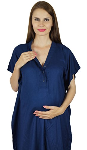 Bimba Hôpital maternité Kaftan avec ceinture Robe de Nuit, Front & Back Buttons Bleu marin