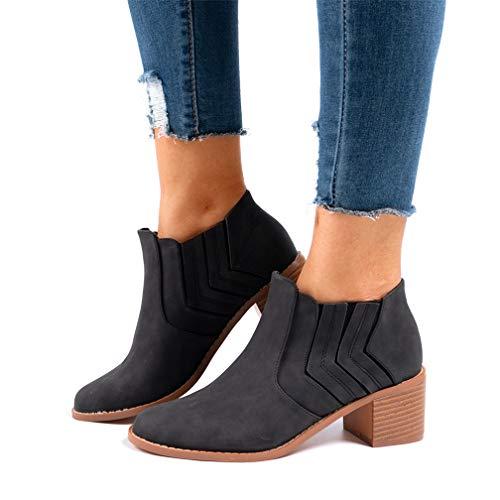 Botines Mujer Tacón Medio, Chelsea Piel Elásticos 5 Cm Zapatos De Botas Comodos Fiesta Vintage Negro...
